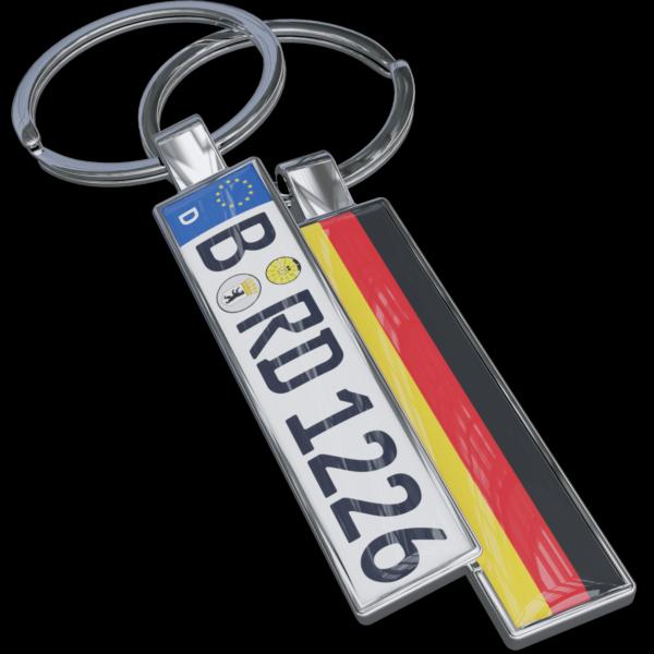 Schlüsselanhänger Kennzeichen mit Flagge